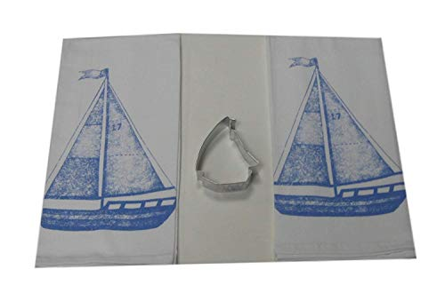 Blue Sailboat Flour Sack Dish Towels and Cookie Cutter Kitchen Gift Set (4 Items)