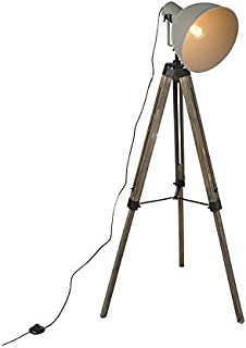 QAZQA laos - Lampe de table trépied/tripode Industriel - 1 lumière - H 1600 mm - Marron - Rustique - Éclairage intérieur -...