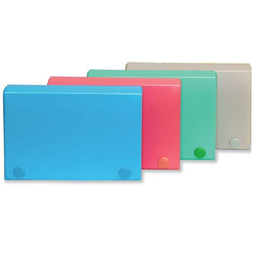 """1InTheOffice Index Card Case, 3"""" x 5"""" Index Card Holder, Assorted Colors (4 Pack)"""