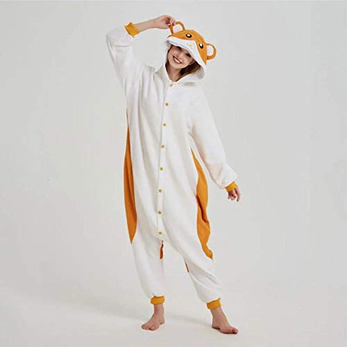 Schlafanzug Hamster Onesie Tier Kigurumis Maus Pyjama Lustige süße Overalls Erwachsene Frauen Winter Jumpsuit Polar Fleece Cartoon Anzug Outfit-Hamster_XL