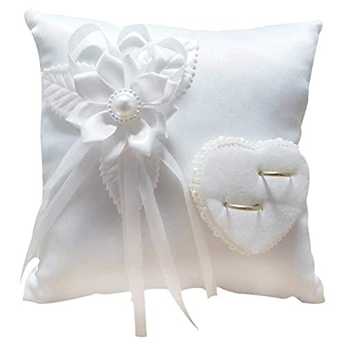 Cojín blanco para alianzas de boda con cinta de satén para anillos de compromiso o boda, ceremonia de boda en la playa