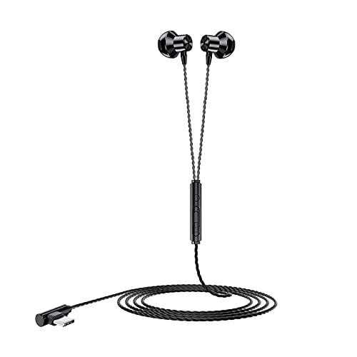 Yiifunglong Auriculares estéreo con cable en el oído Auriculares de deporte tipo C con micrófono negro