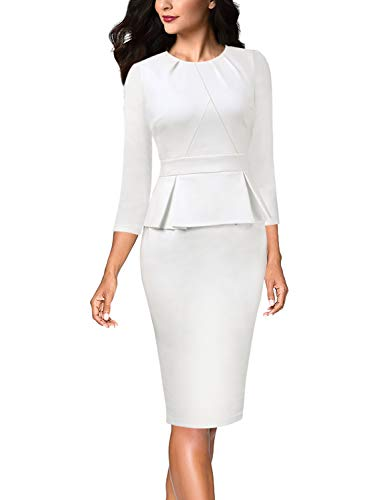 Vfshow Womens Off-White Ivory Spring Fall Pleated Crew Neck Peplum Work Business Office Bodycon Pencil Sheath Dress 3587 WHT S