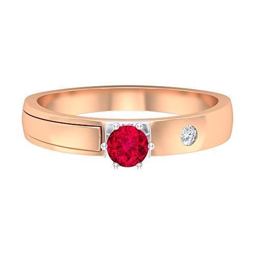 Anillo solitario de rubí de 0,34 quilates, 2 mm, diamante HI-SI, banda unisex, anillo de compromiso de oro tres eUno (rubí redondo de 4 mm), 14K Oro rosa, Size:EU 49