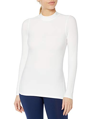 Starter Women's Long Sleeve Mock Neck Athletic Light-Compression T-Shirt, Amazon Exclusive, White, Small