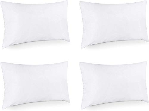 Utopia Bedding Cushion Inner Pads (Pack of 4) - Pillow Inserts 12' x 20' (30 x 50 cm) - Cotton Blend Cover - Hollowfibre Rectangle Cushion Stuffer (Set of 4, White)