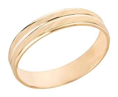 Ardeo Aurum Trauring Unisex Damenring Herrenring aus 375 Gold Gelbgold massiv hochglanz diamantiert Ehering Größe 64