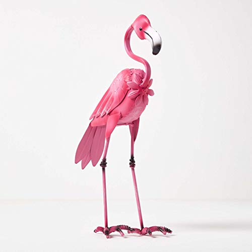 HOMESCAPES Metal Garden Dark Pink Flamingo Statue with Detailed Feathers and Hooked Neck Handcrafted from 100% Iron Free Standing Lawn Ornament Decoration, 35 cm Tall