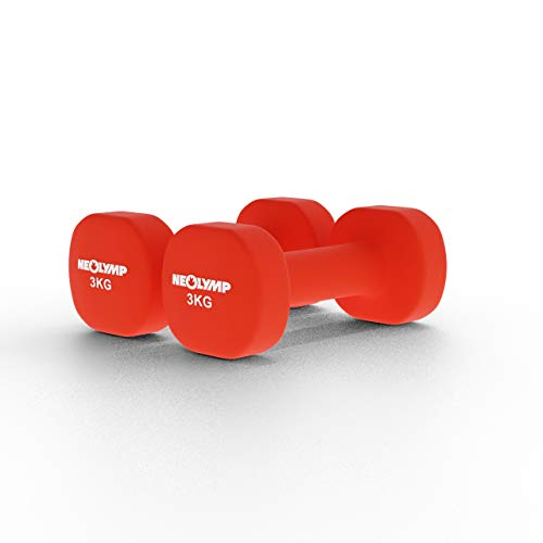 NEOLYMP Neopren Hanteln / 2er Kurzhanteln Set/Hanteln für Männer und Frauen/Hantelset/Gewichte (rot, 3 Kg)