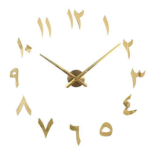Moent Reloj de pared digital creativo de la India, autoadhesivo, para hacer tú mismo, acrílico, para decoración del hogar (oro, 1 unidad)