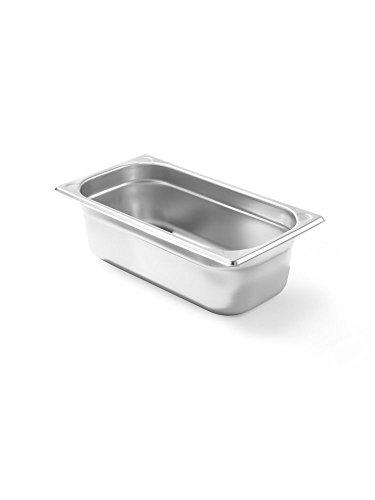 HENDI Gastronormbehälter, Temperaturbeständig von -40° bis 300°C, Heissluftöfen-Kühl- und Tiefkühlschränken-Chafing Dishes-Bain Marie, Stapelbar, 3,4L, GN 1/3, 325x176x(H)100mm, Edelstahl