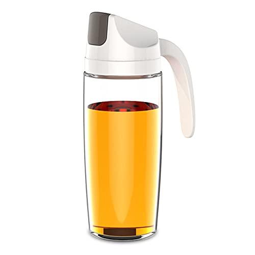 Botella dispensadora de aceite, botella de contenedor de salsa, apertura automática, inoxidable, boquilla de goteo sin caída, botella de vidrio de 600 ml