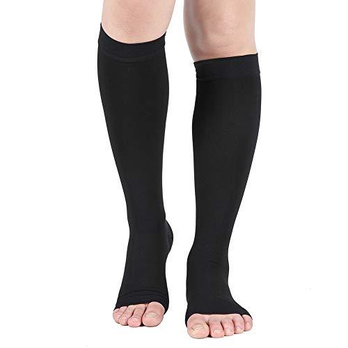 Compression Socks Open Toe 20 30 mmHg Graduated Compression Stockings for Men Women Knee High Compression Sleeves for DVT Maternity Pregnancy Varicose Veins Relief Shin Splints Edema Black L