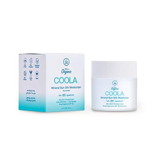 COOLA Organic Mineral Sun Silk Face Moisturizer Sunscreen, Skin Care for Daily Protection, Full Spectrum SPF 30, Reef Safe, 1.5 Fl Oz