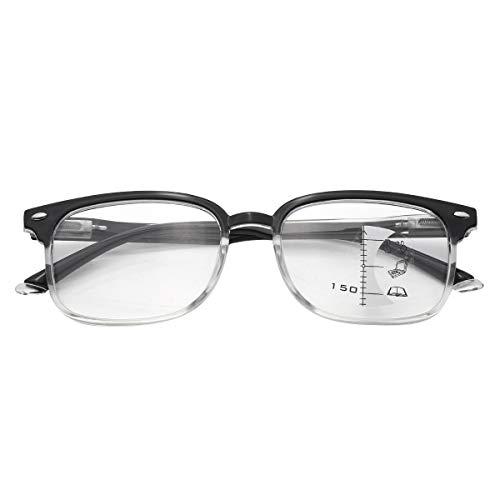 ranrann Damen Herren Progressive Lesebrille Lesehilfe Brille Klassisch Arbeitsbrille Rechteck Multiple Focus für Lesen Arbeiten Schwarz&Transparent +1.50
