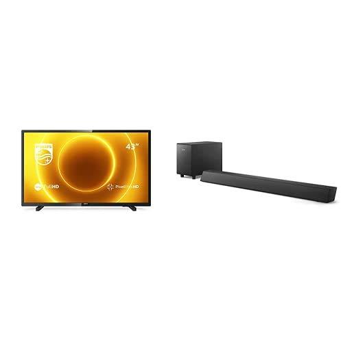 Philips 43PFS5505/12 43-Zoll-LED-Fernseher (Full HD, Pixel Plus HD, Full-Range-Lautsprecher, 2 x HDMI, USB) mit Soundbar B5305/12 inkl. Subwoofer (Bluetooth, 70 W) Schwarz