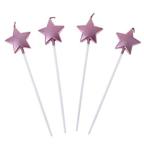 qinren - Velas con Forma de corazón y Estrella de Feliz cumpleaños para Pastel, Velas Bonitas, decoración para Fiestas Infantiles,...