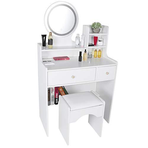 HYM Tocador de maquillaje Set unidad de almacenamiento de joyas con espejo cajones deslizantes tocador