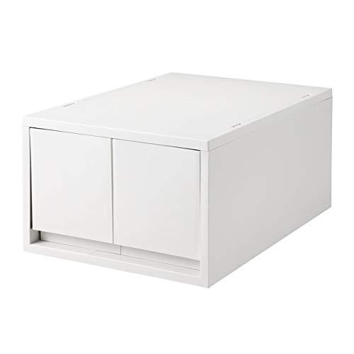 無印良品 ポリプロピレンケース・引出式・深型・2個(仕切付)・ホワイトグレー 約幅26×奥行37×高さ17.5cm 02108274