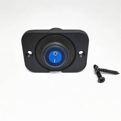 LICHONGUI Impermeable Coche Redondo Rocker Toggle Interruptor SPST ON/Off Control 20A DC 12V LED Iluminado 3 Pines con el Panel para el camión de automóviles Barco Marino (Color : Blue)