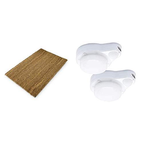 Relaxdays Fußmatte Kokos Natur, braun + Umi. by Amazon 900 lm Leuchte mit Bewegungssensor, vielseitig einsetzbar für Decken- oder Wandmontage (2er-Pack)