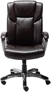 AmazonBasics High-Back Bonded Leather Executive Office Desk Chair