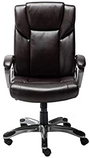 AmazonBasics High-Back Bonded Leather Executive Office Computer Desk Chair - Brown