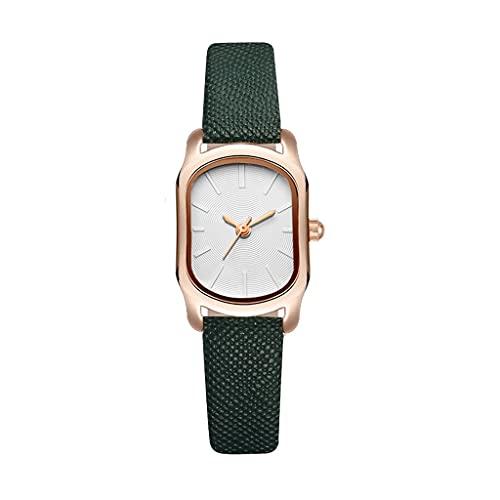 OWZSAN Mujeres Reloj De Banda De Cuero De Mujer De Moda para Mujer Casual Reloj De Pulsera De Cuarzo Simple Hembra Pequeño Reloj Negro Reloj Mujer Relojes Reloj Digital (tamaño : Green)