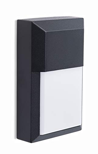 CORAMDEO Commercial & Residential Outdoor Sconce Wall Pack Light Fixture, Wet Location, Built in LED Gives 100W of Light 1000 Lumens from 12W of Power, Black Cast Aluminum with White PC Lens
