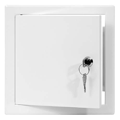 15x15 cm Revisionsklappe Revisionstür Revisionsschacht Weiß Wartungsklappe mit Schloss (150x150 mm)