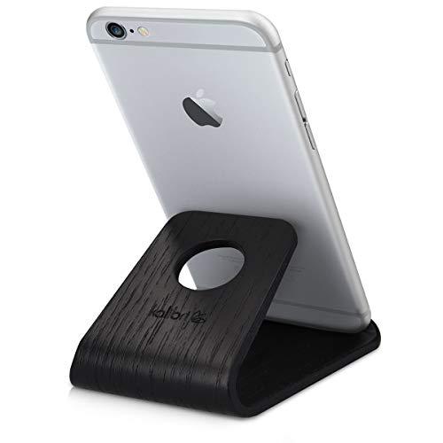 kalibri Telefonstativ i trä – universell mobiltelefon- och surfplattehållare gjord av äkta trä – för skrivbord, nattduksbord, nattduksbord – svart ek