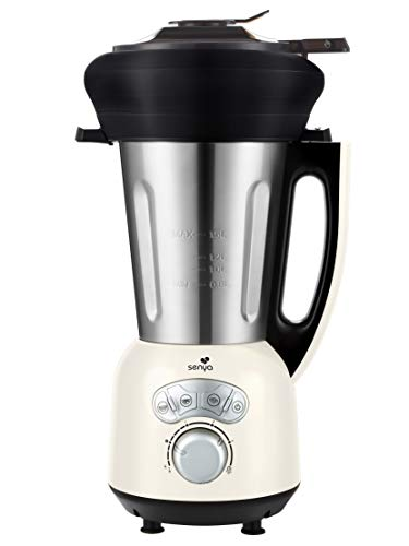 Senya Blender Chauffant Inox Cook & Ice V3 Crème, Mixeur Soupe Veloutée/Moulinée, Cuisson Vapeur, Glace Pilée Smoothies, 1,5L, 1400W, et son panier vapeur en silicone piable de 2L SYCP-HB008CA