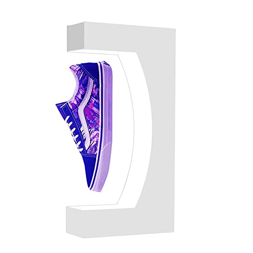 Floatidea Levitating Shoe Display Stand Acrylic Rack Sneakers Levitate Magnetic Levitation Spinning Antigravvity Device with LED Light for Big Shoes Advertising Gift (White without shoe)