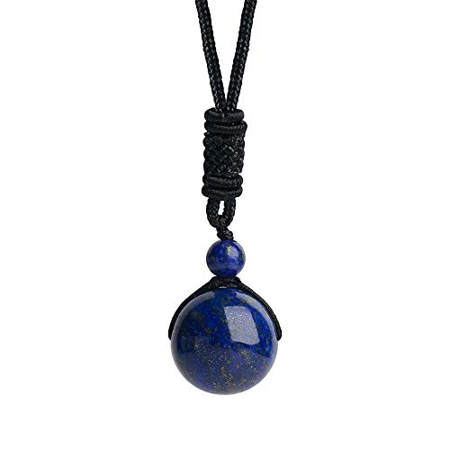 iSTONE Unisex Genuine Round Gemstone Beads Lapis Lazuli Pendant Necklace with Adjustable Nylon Cord 24 Inch