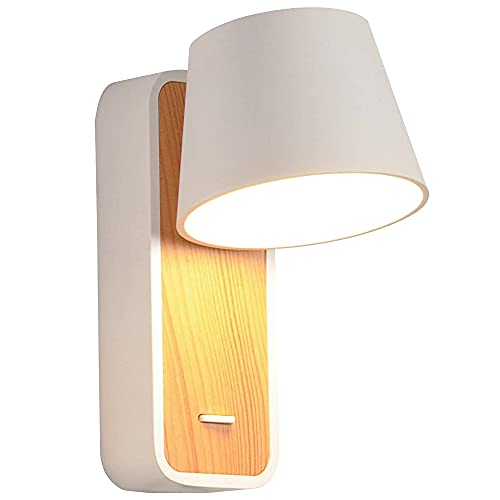 Artpad - Lámpara de pared nórdica LED blanca neutra de 7 vatios con base e interruptor de madera Luz de lectura nórdica de pared de madera Lámpara de pared de pasillo Escalera Apliques de pared