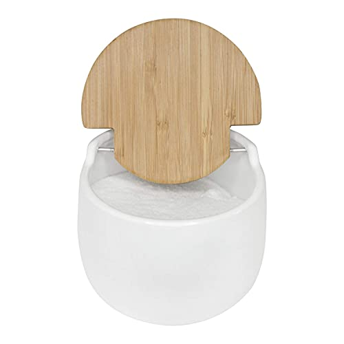 KOOK TIME saleros de Cocina con Tapa de Madera de bambú basculante, 13 cm Dia. 10.5 cm Al. - Saleros de Cocina Modernos con Base cerámica Blanca para Usar como salero y azucarero o especieros