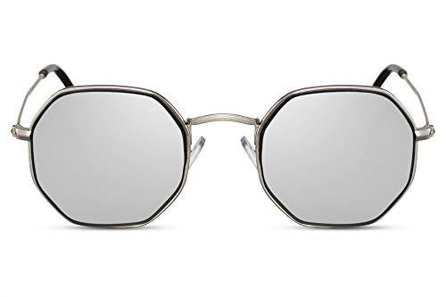 Cheapass Gafas de Sol Pequeñas Octagonal Brown Dorado Metal...