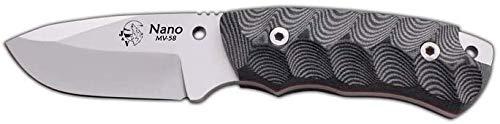 Cuchillo Nano para Campo, Bushcraft, Pesca, Caza y Outdoor. Mango Mikarta, Hoja de Acero MOVA de 7.5 cm, Funda de Piel