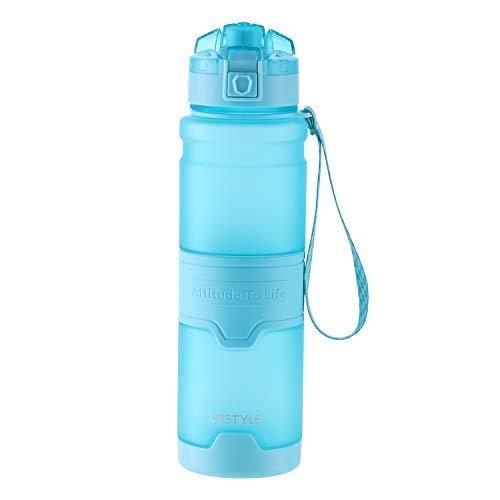 UPSTYLE Botella de agua deportiva US Tritan sin BPA tapa a prueba de fugas con infusor para exteriores, camping, ciclismo, fitness, yoga, niños, adultos, una mano abierta (32 oz/1000 ml, azul)