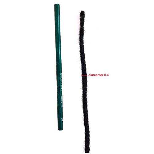 Human Hair Dreadlocks Extensions Handmade Locs Crochet Hair Extension Natural Color Can be Dyed 40 Strands (8inch 0.4cm diameter)