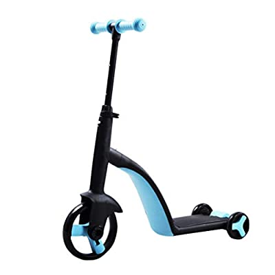 Scooter Children's Multi-Function 3 in One Child Balance Car Tricycle Baby 2-3-6 Year Old LCSHAN (Color : Blue)