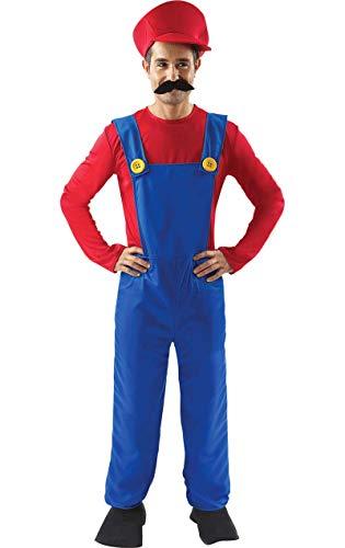 ORION COSTUMES Costume de déguisement de jeu vidéo rétro des années 80 du super plombier pour hommes