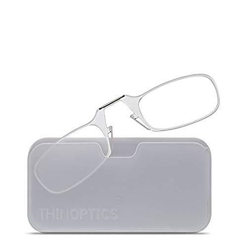 ThinOptics Universal Pod Rectangular Reading Glasses, Clear Frames/White Case, 2.5 x