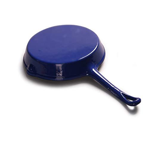 SHUILV Manija Larga de Hierro Fundido Griddles Freír Pan Pot Pozo Plano Fritorio Pan Pan Freír Pan de Friaje Non-Stick Parrilla Parrilla de Cocina (Color: Rojo y Azul) (Color : Blue)