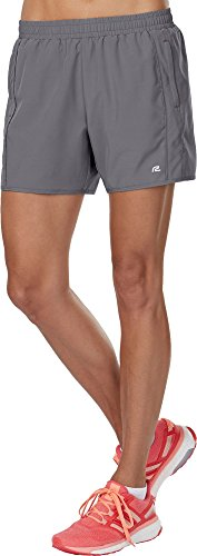 R-Gear Women's 5-Inch Running Workout Shorts with Zipper Pockets and Brief Liner for Sports, Gym, Casual | High Five, Grey Mist, L