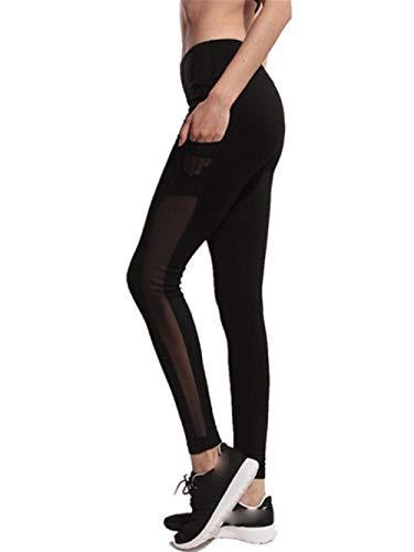 YWLINK Damen Einfarbig Mode Mesh NäHte Trainieren Gamaschen Fitness Sport Fitnessstudio Seitentasche Laufender Yoga Sportliche Hosen(XL,Schwarz)