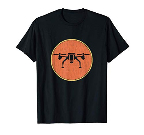 Silueta de dron, estilo retro, Quadcopter Camiseta