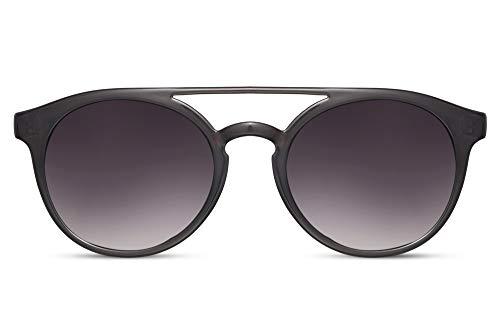 Cheapass Gafas de Sol Lechoso Gris Redondas Puente Doble Parte superior Vintage Retro Gafas de Sol Gradual Lentes Protección UV400 Hombres Mujeres