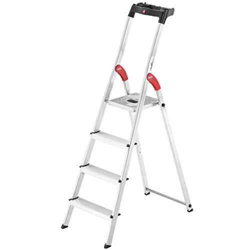 Hailo L60 Alu-Haushaltsleiter (4 Stufen, EasyClix, Ablageschale, Gelenkschutz, belastbar bis 150 kg) 8160-401