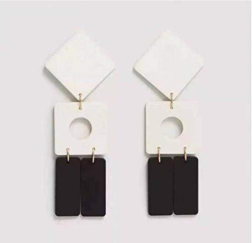 Pendientes de Resina Acrílica con Accesorios, WOZUIMEI, en blanco y negro, Largo 8.5cm